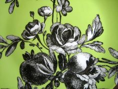 Pretty black and white toile pattern on light green-- Fleur. Designed by the talented Rosanna Bowles- Number one in designer tableware and dishes. Coupe plate shape with edges curved up. Pretty Black, Black And White, Botanical Wallpaper, Plates, Table Decorations, Green, Pattern, Animals, Berries