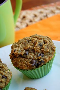 Pumpkin Chocolate Chip Muffins - Healthy and moist!