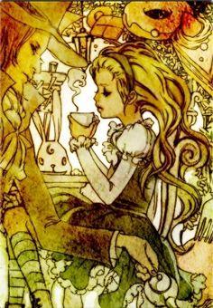 Alice drinking tea