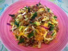 Salada morna de lentilhas - Nutrição com Coração