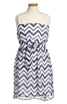 Zunie Crochet Yoke Chiffon Dress (Big Girls) | Nordstrom