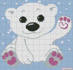 Cross Stitch Boards, Cute Cross Stitch, Cross Stitch Animals, Cross Stitch Embroidery, Cross Stitch Patterns, Baby Cardigan Knitting Pattern Free, Knitting Charts, Baby Knitting, Crochet Baby