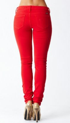 Cute red skinny jeans