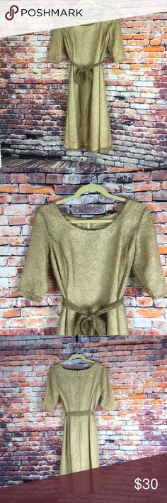 """1070s Dress This dress feels lovely on!  It is light and airy. Matching belt.  Rubs big. No brand tag, but is sized 8.  However please check measurements. (Given when ready to put """"For Sale."""") The most accurate photo of the color is in the modeling pics. Vintage Dresses"""