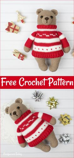 Free Crochet Bear Patterns – Amigurumi Patterns : Free Crochet Bear Patterns,Amigurumi Bear In Pullover Free Crochet Pattern-I have rounded up a huge list of free crochet teddy bear patterns for you to get inspired by these cute and soft teddy bears. Crochet Teddy Bear Pattern, Crochet Lion, Crochet Dolls Free Patterns, Crochet Bunny, Crochet Baby Hats, Amigurumi Patterns, Free Crochet, Crochet Hooks, Crochet Animals