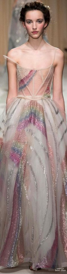 Valentino Couture Spring 2015 - white organza gown with rainbow beading so pretty