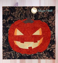Jack-o-lantern paper piecing pattern by Joanna at Shape Moth