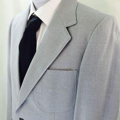 VTG Le Tigre Men's Suit Jacket Blazer Sport Coat Light Blue Grey Retro #LeTigre #TwoButton