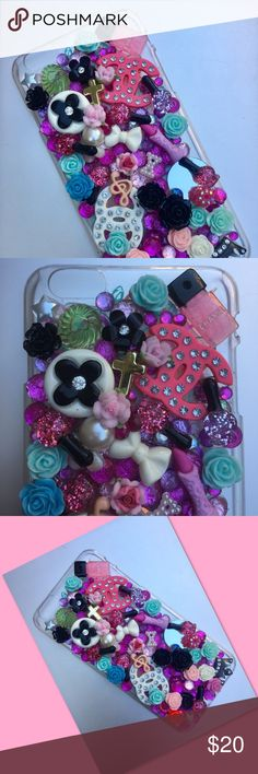 Happiness iPhone 6S decorated cover. It's so cutesy! Make up, crowns, roses, and jewels make your phone part of your fashion! Accessories Phone Cases