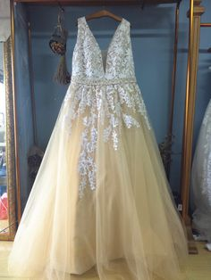 Plunging Neck Floor Length Champagne Tulle Plus Size Wedding Dresses with Sash