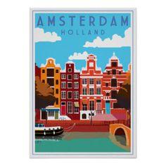 Vintage Amsterdam, Holland travel poster