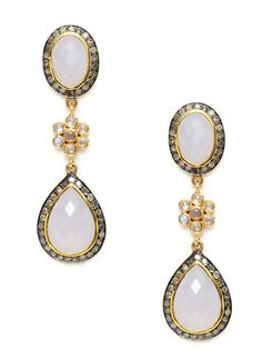 Amrapali Rainbow Moonstone & Blue Chalcedony Multi-Shape Drop Earrings