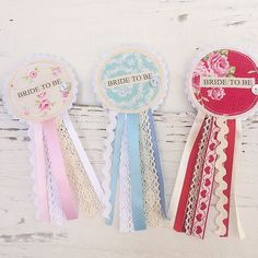 Bride To Be Rosette Badge Pastel Colours Lace by shopwillynilly