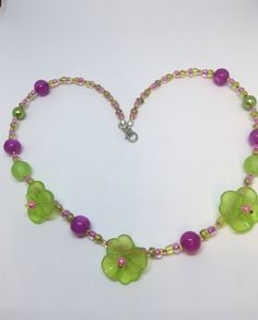 Excited to share the latest addition to my #etsy shop: Lime Green & Pink Pansy Flower Necklace Handmade Necklace-Gifts for women-Gifts for her-Ladies Jewellery-Ladies gifts handmade jewellery £4.99 juliedeeleyjewellery.com