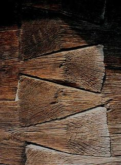 embrace (love the way the textures merge. the raw wood & soft velvet feel :) giant dovetails [the angle is not 90 but 120 degrees] from the altar of a wooden church in Valcea County, XIX century, Romania detaliu de la o biserica de lemn din Valcea Into The Woods, Cabins In The Woods, Wood Joints, Raw Wood, Wood Texture, Wabi Sabi, Log Homes, Joinery, Textures Patterns