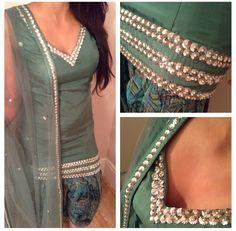 Beautiful green suit with floral print salwar get this made @nivetas Design Studio  visit us at www.facebook.com/punjabisboutique whatsapp; +917696747289