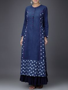 Buy Indigo White Embroidered Dabu Printed Cotton Kurta Online at Jaypore.com