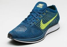 e0bf248ba528 This new colorway of the Nike Flyknit Racer features a Brave Blue upper  with Volt detailing on the branding and Flywire.