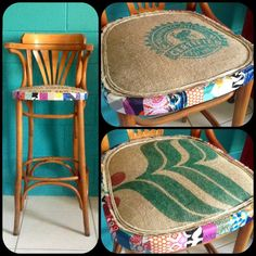 Decoupage and coffee sack. Furniture makeover. Three sisters design. Find us on Facebook!