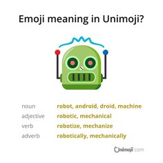 """Robots, will they become self-aware? 😲😨😅 The """"robot face"""" emoji represents a humanlike robot; thus, literal translations would be """"android"""" or """"droid"""". Emoji Language, Robots, Meant To Be, Self, Android, Graphics, Face, Instagram, Graphic Design"""