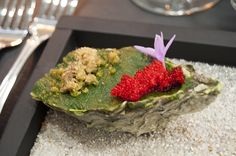 Green oyster with chicharron, roe, spinach. WTF Clandestine Dinner at The Kitchen, Tijuana, #TJ22000.