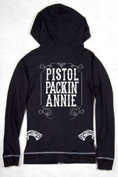 Country Girl Store - Contrast Stitch Hoodie - Pistol Packing Annie   Longer length pullover hoodie to wear over jeans or leggings!  Be careful when you put this packin' hoodie on and be prepared for gun slingin'!  The contrast grey stitching and drawstring add a touch of fun! • 8.0 oz., 55% cotton, 45% polyester • Wide flat contrast color drawcord with hemmed edges and pewter gromm