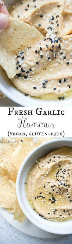 This Fresh Garlic Hummus takes minutes to make with simple ingredients like chickpeas, fresh garlic, tahini, olive oil, salt and pepper - savory, fresh and delicious, serve it with tortilla chips, tortillas, bread, or in sandwiches! (vegan, gluten-free, video) #vegan #glutenfree #tahini #hummus #homemade #recipe #sesameseeds #oliveoil #chickpeas #salt #pepper