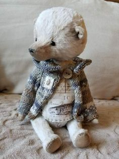 Teddy Bear North By Elvira Konysheva - The Teddy bear North made from viscose (dyed myself). His paws and the head are mobile because of special fastening. Eyes are made of glass.The Teddy bear North has a knitted jacket and cotton T-shirt.All of my toys are 100% handmade - made by hand, no machine sewing! They are...
