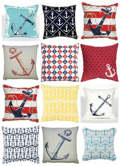 There's just something special about classic nautical styling for beach house pillows! Bold blues, reds and traditional maritime symbols of anchors, rope details, and sailboats make up our ever changing collection of nautical and maritime throw pillows. Coastal Living Rooms, Coastal Homes, Coastal Decor, Coastal Bedrooms, Coastal Cottage, Nautical Bedroom, Nautical Home, Vintage Nautical, Nautical Style