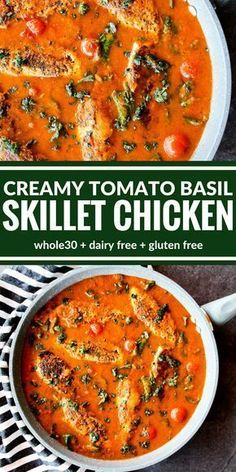 You're going to love this Creamy Tomato Basil Skillet Chicken! It's all about the sauce over perfectly sauteed chicken. Plus it's surprisingly dairy free, gluten free, and Whole30!