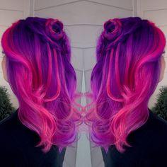 Purple and pink ombré hair pravana vivids! Dye My Hair, Pink Purple Hair, Hot Pink Hair, Pastel Hair, Hair Dye Colors, Cool Hair Color, Vivid Hair Color, Multicolored Hair, Colorful Hair