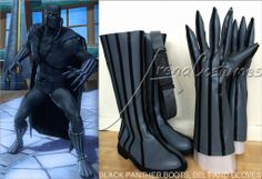 Black Panther boots, belt and gloves