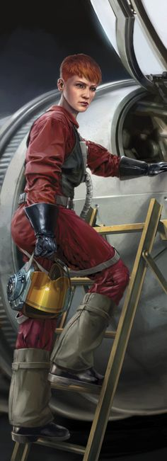 """B-wing pilot Gina Moonsong. From """"Blade Squadron: Part One"""". One of the first stories in the Star Wars new canon is now online. (art by Chris Trevas)"""
