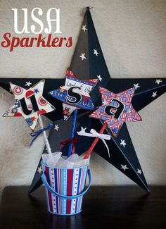 USA Sparklers (tutorial), Patriotic & 4th of July Crafts