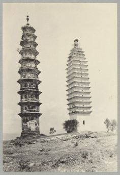Chinese view – Two of the San t'ah or three pagodas. Talifu, Yunnan, China. Photo by J.F. Rock, May 4, 1922.