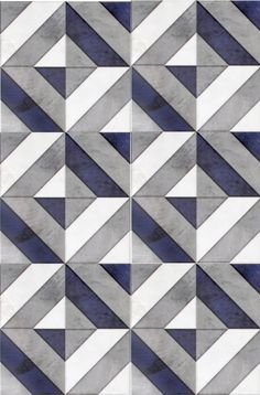 Go bold with our favorite geometric patterned tile, Insight, featured on carrara marble.  Use this modern design as bathroom floor tile or as a kitchen backsplash.  The dark navy blue shade in this luxury tile will capture the attention of all your guests.