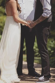 I really like the idea of the groom being so comfortable. vans, black jeans, no jacket, and it still looks classy.