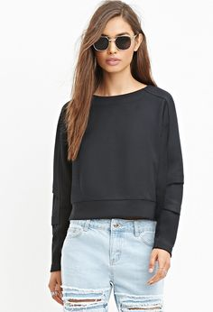 Tonal-Paneled Boxy Sweatshirt
