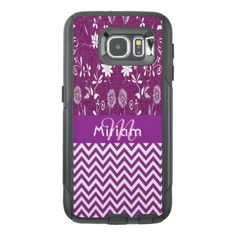 Purple chic chevron zigzag flowers girly glitter OtterBox samsung galaxy s6 case - glitter gifts personalize gift ideas unique