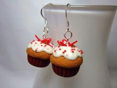 Strawberry Shortcake CUPCAKE Polymer Clay Kawaii Dangle Earrings
