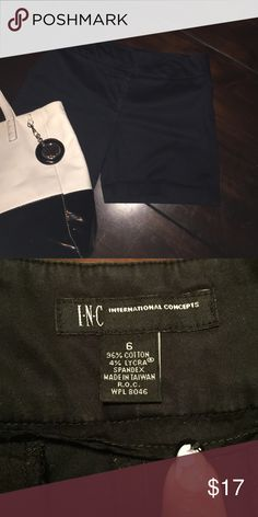INC Walking Shorts Black Great For Low Heal or Flat Sandal with 4% Lycra.  Great stretch and fit! Shorts