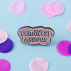 Feminist & Proud Enamel Pin with clutch back // lapel pins, feminism // EP055
