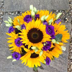 Sunflowers and purple lisianthus bouquet