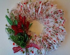 Luscious Handcrafted Full Fluffy Christmas Paper Wreath (for indoor use only) | Colorful Door Wreath with Ribbon, Pine Cone.& Floral Picks