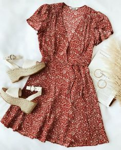 Dancer Red Floral Print Short Sleeve Wrap Dress - Dancer Red Floral Print Short Sleeve Wrap Dress - Coral Print Wrap Dress Summer Outfit The Dawn Dress Cute Dresses, Casual Dresses, Casual Outfits, Cute Outfits, Dresses Dresses, Floral Dresses, Dresses Online, Red Floral Dress, Hippie Dresses
