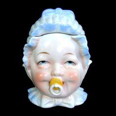 Antique Baby Face Tobacco Jar Humidor by NanasAntiqueBoutique