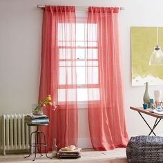 Sheer Linen Window Panel in Coral Rose from west elm