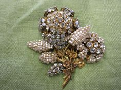 VERY BEST Antique Signed MIRIAM HASKELL Pearl & Rhinestone Floral Brooch #MiriamHaskell