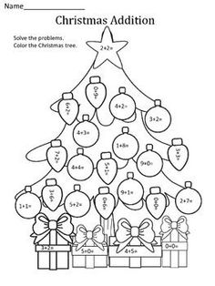 Christmas: Addition This Christmas addition worksheet is fun for students to… Christmas Writing, Christmas Math, Christmas Colors, Merry Christmas, Addition Worksheets, Math Addition, Math Worksheets, Coloring Worksheets, Printable Coloring
