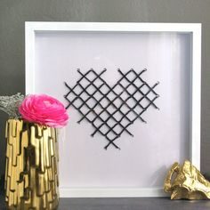 #DIY Art Tutorial: Cross Stitched Heart